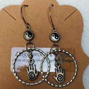 Peace & Love Yin Yang Palm Calming Silver Earrings